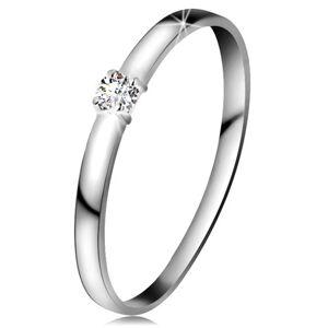 Briliantový prsten v bílém 14K zlatě - briliant čiré barvy, lesklá ramena - Velikost: 48