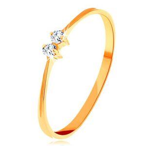 Briliantový zlatý prsten 585 - tenká lesklá ramena, dva zářivé čiré diamanty - Velikost: 48