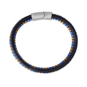 Černý kožený náramek - zapletené hnědé a modré šňůrky, zásuvné zapínání