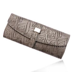 Cestovní šperkovnice ze šedé umělé kůže, detaily stříbrné barvy