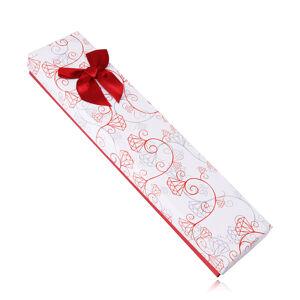 Dárková bíločervená krabička na náramek nebo řetízek - ornamenty, červená mašle