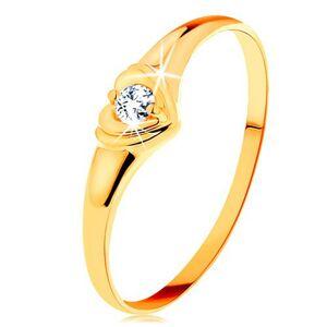 Diamantový zlatý prsten 585 - blýskavé srdíčko se vsazeným kulatým briliantem - Velikost: 49