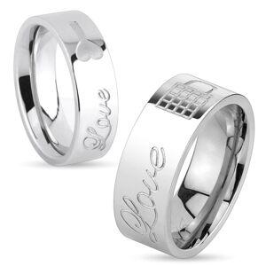 Lesklý ocelový prsten stříbrné barvy, nápis Love a zamknutý zámeček, 8 mm - Velikost: 65