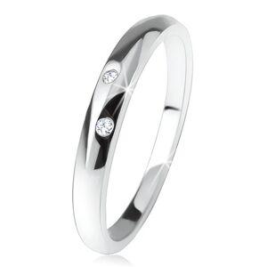 Lesklý prsten s vypouklým ramenem, dva čiré zirkonky, ze stříbra 925 - Velikost: 57