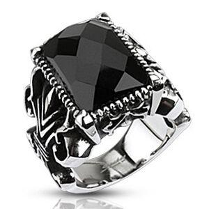 Mohutný ocelový prsten, černý broušený obdélník, vyřezávaná ramena - Velikost: 62
