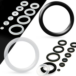 Náhradní silikonové kroužky na tunel nebo plug, čirá barva - Tloušťka : 2 mm