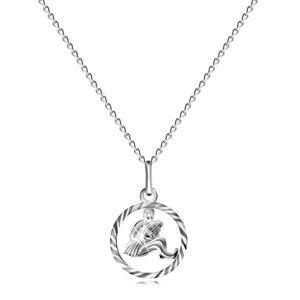 Náhrdelník ze stříbra 925 se znamením zvěrokruhu VODNÁŘ