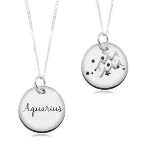 Nastavitelný náhrdelník, stříbro 925, řetízek a kruhová známka - znamení VODNÁŘ