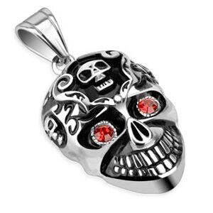Ocelový přívěsek s patinou - lebka a červené kamínky