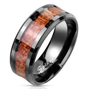 Ocelový prsten v černé barvě - proužek s dřevěným motivem, hladká čirá glazura - Velikost: 70