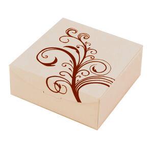 Papírová krabička na soupravu šperků - béžová s květovým ornamentem