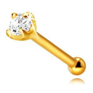 Piercing do nosu ze 375 žlutého zlata - lesklá tyčinka ozdobená blýskavým zirkonem, 1 mm