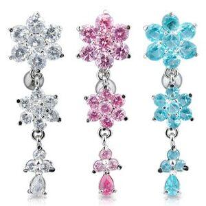 Piercing do pupíku - tři třpytivé zirkonové květy - Barva zirkonu: Čirá - C