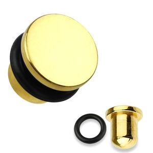Plug do ucha z oceli 316L ve zlaté barvě, černá gumička, různé tloušťky - Tloušťka : 3 mm