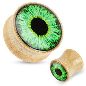 Plug do ucha ze dřeva - světle hnědá barva, průhledná glazura, zelené oko - Tloušťka : 12 mm