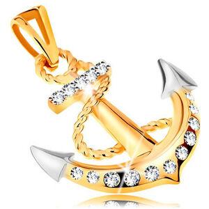 Přívěsek v kombinovaném 14K zlatě - lodní kotva s obtočeným lanem a zirkony