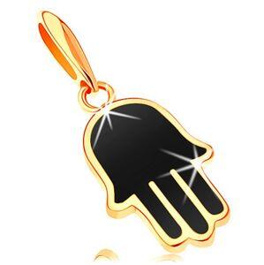 Přívěsek ve žlutém 14K zlatě - ruka Hamsa pokrytá černou glazurou