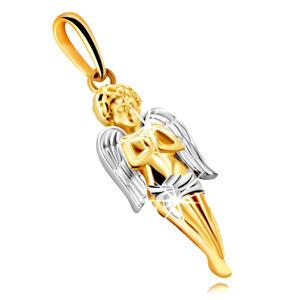 Přívěsek z kombinovaného 375 zlata - modlící se anděl s křídly