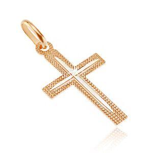 Přívěsek ze 14K zlata - kříž, vroubkovaný povrch s tenkým zářezem v cípech