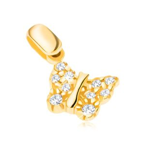 Přívěsek ze 14K zlata - motýlek se strukturovanými křídly a zirkony