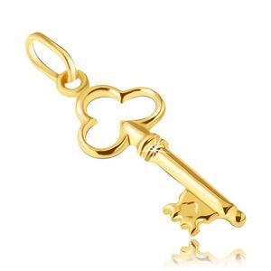 Přívěsek ze zlata 14K - klíček s vykrojeným trojlístkem v hlavičce