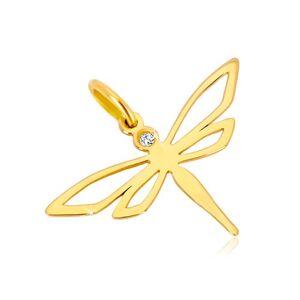 Přívěsek ze žlutého zlata 585 - lesklá vážka s vyřezávanými křídly, zirkon