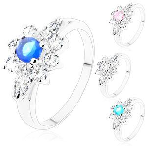 Prsten se stříbrným odstínem, broušené kulaté a zrnkovité zirkony - Velikost: 54, Barva: Čirá