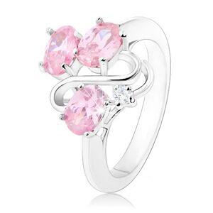 Prsten stříbrné barvy, zvlněná linie, tři oválné růžové zirkony - Velikost: 60
