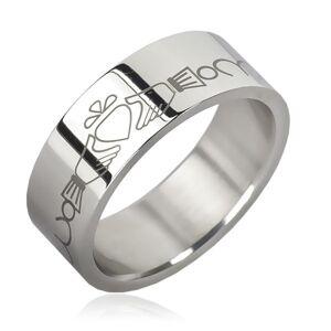 Prsten z chirurgické oceli - řetízek, srdce v rukách - Velikost: 70