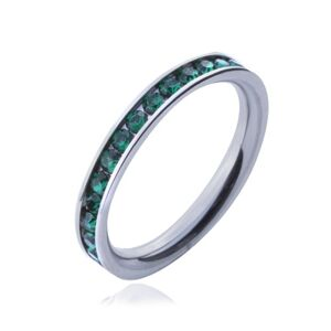 Prsten z chirurgické oceli - zelené kulaté zirkonky  - Velikost: 55