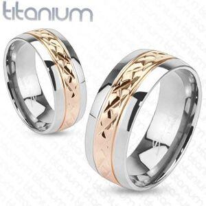 Prstýnek z titanu - zlatorůžový pás s vroubkováním - Velikost: 55