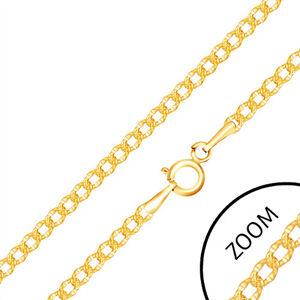Řetízek ve žlutém 14K zlatě - oválné články s gravírovanými tečkami, 500 mm