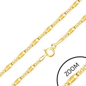 Řetízek ze žlutého 14K zlata - oválná a podlhouhlá očka, obdélník, 550 mm