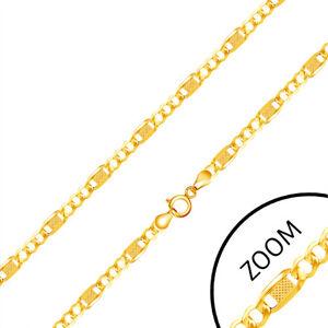 Řetízek ze žlutého 14K zlata, tři očka, dlouhý článek s mřížkou, 450 mm
