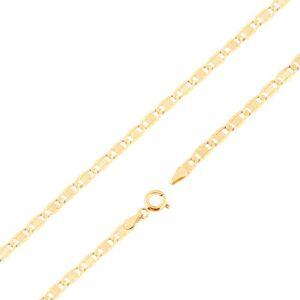 Řetízek ze žlutého 14K zlata - větší ploché články, zářezy, obdélník, 500 mm