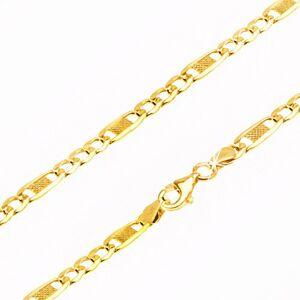 Řetízek ze žlutého 9K zlata, tři oválná očka a jedno delší s mřížkou, 450 mm