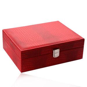 Šperkovnice červené barvy - imitace krokodýlí kůže, tvar obdélníku, přezka