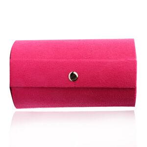 Šperkovnice v růžovém barevném provedení - tvar válce, tři přihrádky