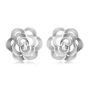 Stříbrné 925 náušnice - vyřezávaná růže s okvětními lístky, puzetové zapínání