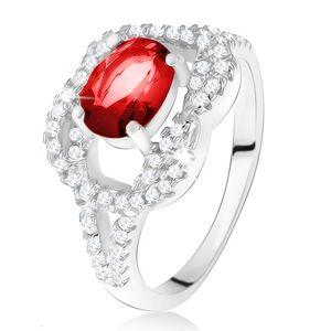 Stříbrný 925 prsten, oválný rubínový kámen, zirkonový uzel - Velikost: 58
