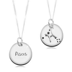 Stříbrný náhrdelník 925, řetízek a kruhový přívěsek - znamení RYBY