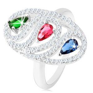 Stříbrný prsten 925, zirkonová oválná kontura, barevné broušené kapky - Velikost: 49