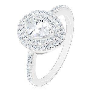 Stříbrný zásnubní prsten 925, čirá broušená kapka ve dvojité kontuře - Velikost: 46