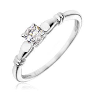Stříbrný zásnubní prsten 925 - čirý zirkon, dvojité prstence - Velikost: 57
