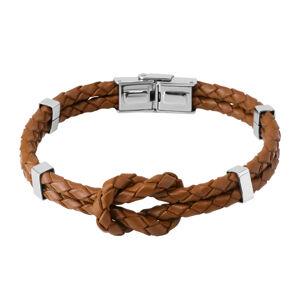 Tmavě hnědý kožený náramek - uzel ze dvou pletenců, kovové svorky, hodinkové zapínání