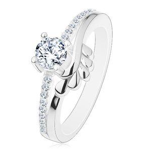 Zásnubní prsten, stříbro 925, čirý zirkon a třpytivá ramena, lístečky - Velikost: 56