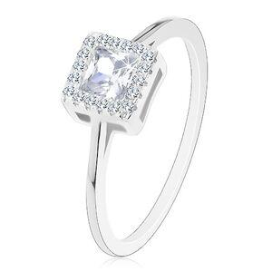 Zásnubní prsten, stříbro 925, čirý zirkonový čtverec se zirkonovou obrubou - Velikost: 63