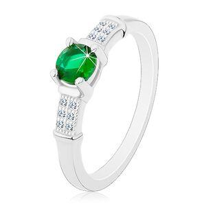 Zásnubní prsten, stříbro 925, zirkonová ramena, kulatý zelený zirkon - Velikost: 48