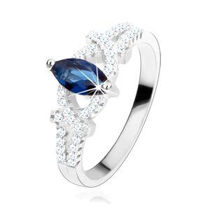 Zásnubní prsten, stříbro 925, zrnko z tmavě modrého zirkonu, třpytivé oblouky - Velikost: 52