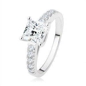 Zásnubní prsten ze stříbra 925, čirý zirkonový čtverec, ramena s kamínky - Velikost: 49